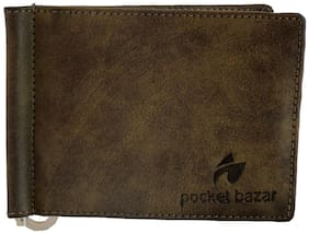 Pocket bazar Leather Green Casual Money Clipper (6 Card Slots)