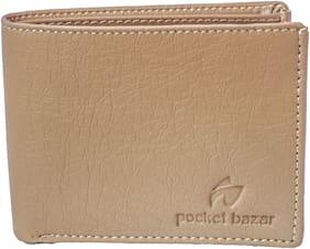 Pocket bazar  Men Beige Artificial Leather Wallet  (9 Card Slots)