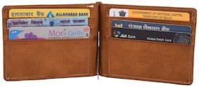 pocket bazar Boys Tan Genuine Leather Money Clip  (6 Card Slots)