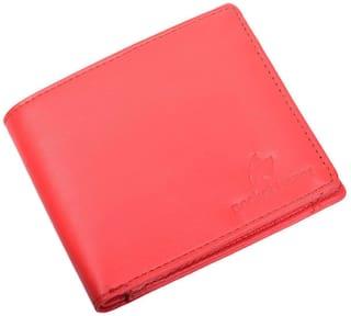 pocket bazar Men Red Leather Bi-Fold Wallet ( Pack of 1 )