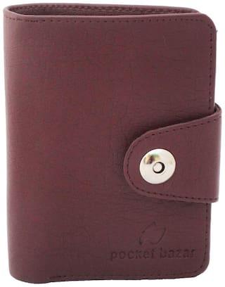 pocket bazar Men Brown Synthetic Leather Photo Holder Bi-Fold Wallet