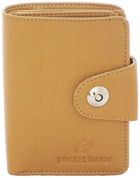 pocket bazar Men Beige Synthetic leather Bi-Fold Wallet ( Pack of 1 )