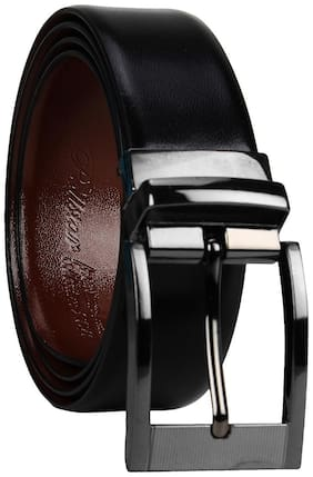 POLLSTAR Men Black Leather Belt (Size: 28 , Pack of 1 )