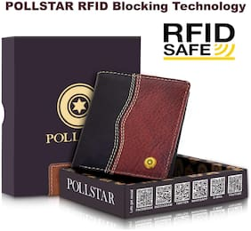 POLLSTAR Men Black Leather Bi-Fold Wallet ( Pack of 1 )