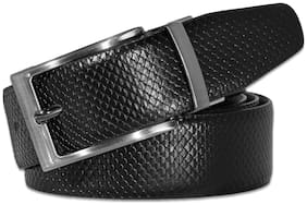 POLLSTAR Black and Brown Reversible Leather Belt with Dressy Turn Buckle (BT121)