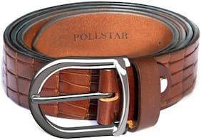 POLLSTAR Leather Ratchet Belt for men with Innovative Effortless Mechanism 35MM;Size Adjustable (BT126BN)