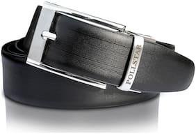 POLLSTAR Men Black Leather Belt (Size: 28 , Pack of 1 )