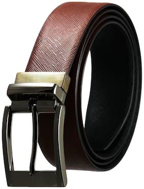 POLLSTAR Men Brown Leather Belt (Size: 28 , Pack of 1 )