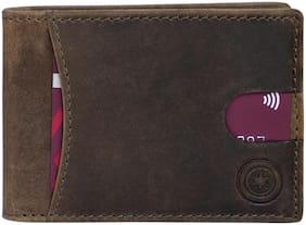 Men Leather Bi-Fold Wallet ( Brown )