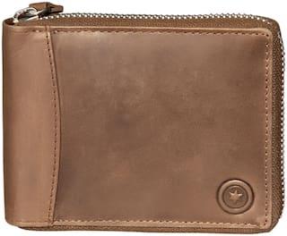 POLLSTAR RFID Blocking Men Leather Zip around Wallet Secure Zipper Bifold Leather wallet (WL710BN)