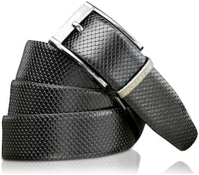 POLLSTAR Snake Skin Texture Reversible Belt with Rotated Stainless Steel Buckle (BT121)
