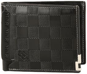 Popmode Short Embossed Plaid Coin Wallet with Card Cross Section Black Men's Wallet