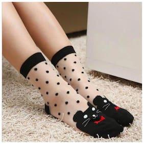 Popmode Women Cute Cat Design Black Silk Stockings Lace Trim Transparent Girls Crystal Socks
