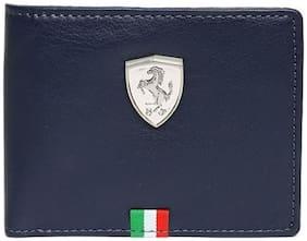 Puma Men Blue Genuine Leather Wallet