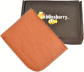 Pure Leather (pu) Stylish Wallet for Men, Tan Colour, Long Lasting Quality, Hand Made ( Tan Curve)
