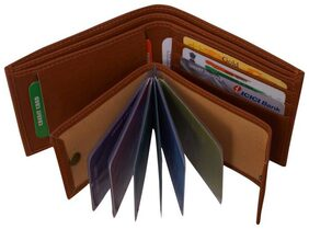 Pure Leather Brown Men' Slim Wallet With Card Holder & Coin Pocket