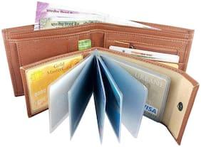 pure leather (pu)  genuine wallet for men ( Tan  Album -5)
