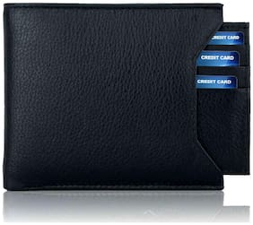 Pure Leather (pu) Stylish Wallet for Men, Separable card holder, Black Colour, Long Lasting Quality, Hand Made (M-0011)