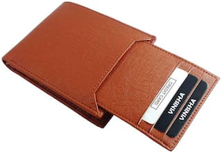 Pure Leather (pu) Stylish Purse for Men, Separable Card Holder, Tan Colour, Long Lasting Quality, Hand Made (M-0013)