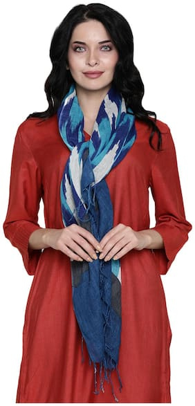 Linen Club Women Linen Stoles - Blue