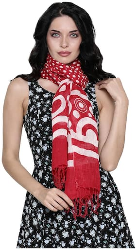 Linen Club Women Linen Stoles - Red