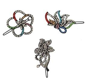RABIA TAJ PEARL & ARTS Women Hair pin ( Multi , Set of 3 )