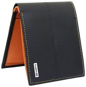Radon Men's Casual Black+Tan Leather Wallet (9+ Card Slots)