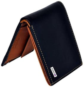 Radon Men's Casual Plain Black+Tan Leather Wallet (9+ Card Slots)