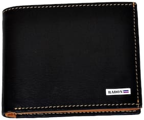 Radon Men's plain Casual Leather Wallet (9+ Card Slots)