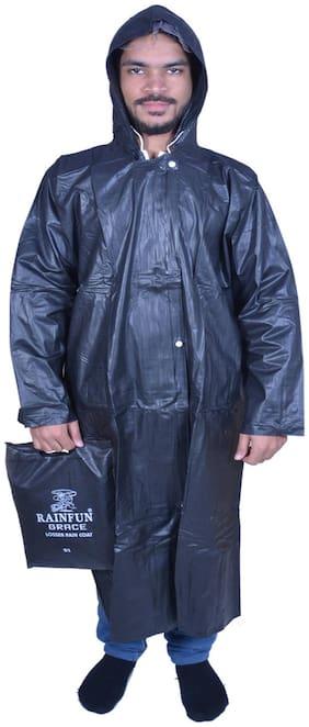 Rainfun Grace Black 51 Solid Mens Raincoat (Size-L )