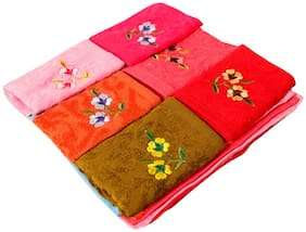 Red Ballons  Multi- Color Super Soft Self designed Floral  Face towel with embroidery ( Pack of 12 )