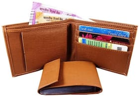 ROZVOLT Men Tan Wallet, up to  10 card slots, Detachable Card album