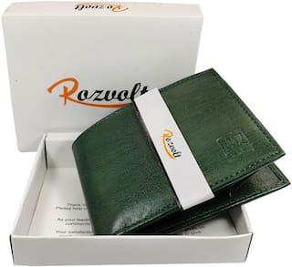 ROZVOLT Men Green Leather Bi-Fold Wallet ( Pack of 1 )