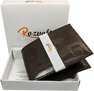 ROZVOLT Men Brown Leather Bi-Fold Wallet ( Pack of 1 )