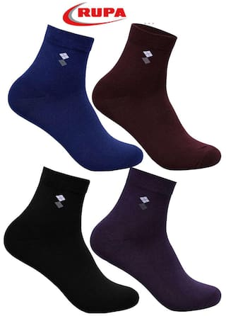 Rupa Men's Cotton Assorted Long Socks - Pack of 4 Pair