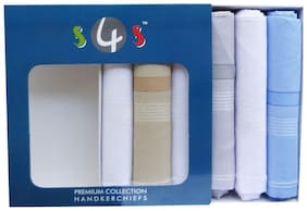 S4S 100% Cotton Premium Collection White & Multicoloured Handkerchiefs-Gift Box Packing (Pack of 6)