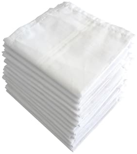 S4S 100% Cotton Premium Collection White Handkerchiefs (Pack of 12)
