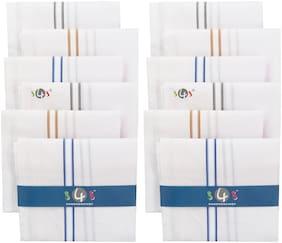 S4S Men's 100% Cotton Essential Handkerchiefs (White Striped_42CM X 42CM_Pack of 12)
