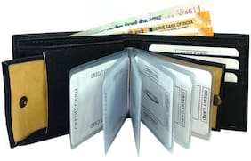 SAMTROH Artificial Leather Card Holder Cum Money Wallet, Slots Space for 6 Cards  Holder Set of 1 (BLK ALBUM OKSS)