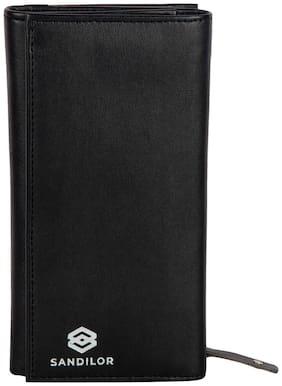 Sandilor Pu Leather Designer Long Black Men's Wallet