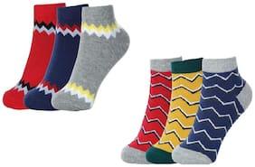 Sandilor Unisex Cotton Coloured Ankle Length Socks-6 Pairs