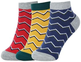 Sandilor Unisex Coloured Cotton Ankle Length Socks-3 Pairs