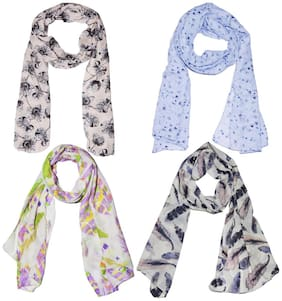 Scarf Scarves Stoles Set Combo of 4 Soft PolyCotton Women's Summer Scarf