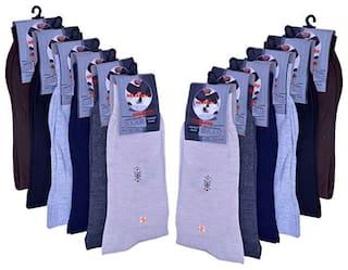 Senapati Men's Solid Mid-calf Length Socks (Pack of 12)