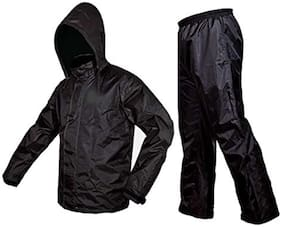 Sepia Premium Plain Unisex Rain Coat-Black