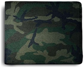 ShopMantra Army Green Pattern Printed Canvas Leather Wallet for Men's