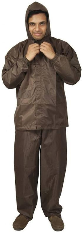 Shree Jee Men Nylon Brown Rain Suit ( Xxl , Pack of 1 )