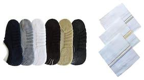 Signara Combo of 6 Towel Loafer Socks and 3 White Handkerchiefs
