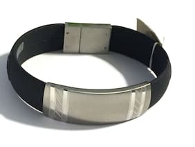 Silver Stainless Steel Black Silicone Wristband Bracelet Bangle Men's Jewelry