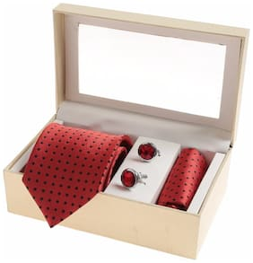 Sir Michele Designer Red Micro Silk Tie;Pocketsquare and Cufflink Set for Men (Pack of 3)